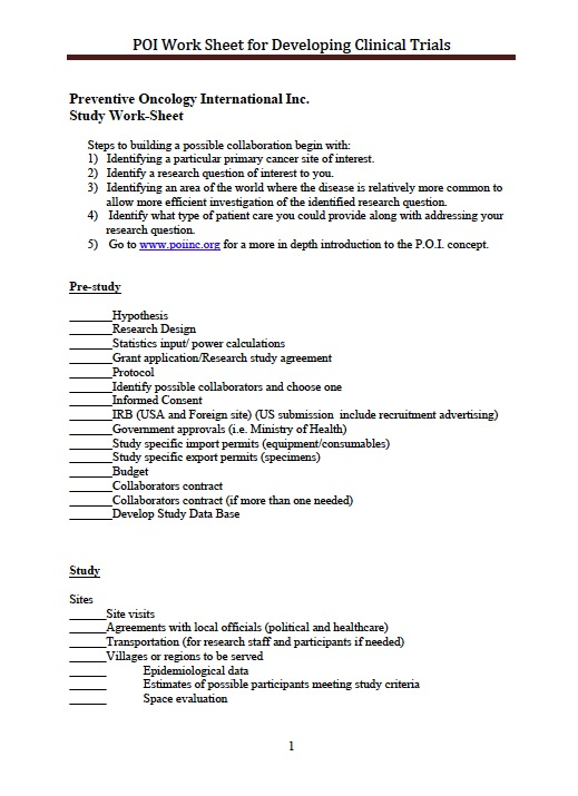 POI Clinical Trial Worksheet | POI | Preventive Oncology ...